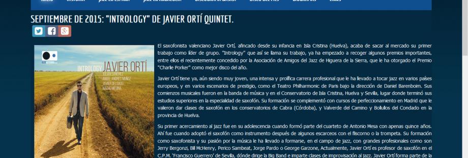 """Septiembre de 2015: """"Intrology"""", Disco del mes en Apolo y Baco"""